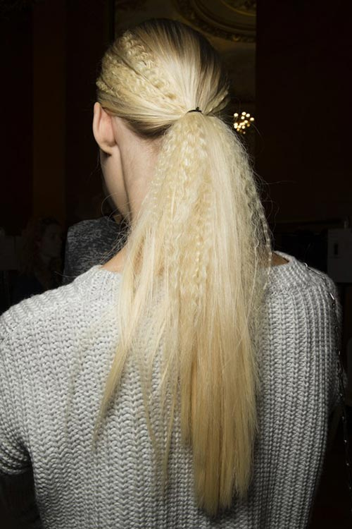 Spring/ Summer 2015 Trendy Ponytail Hairstyles: Stella McCartney Crimped Ponytails