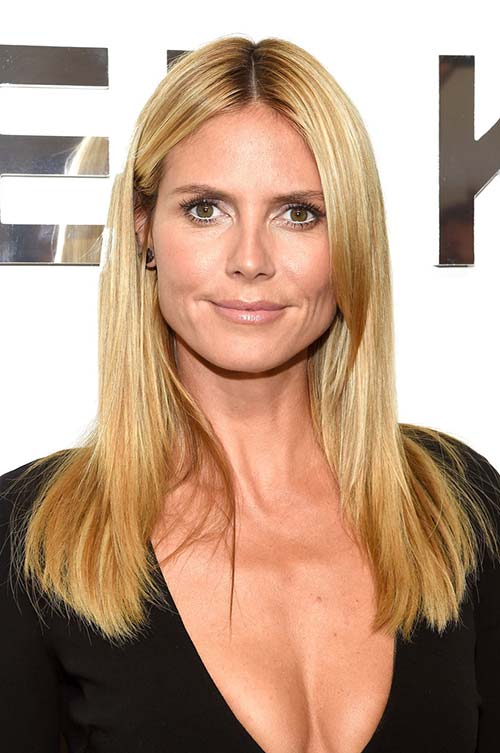 20 Stylish Ways to Wear Center Part Hairstyles: Heidi Klum