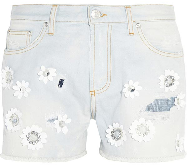 Summer 2015 Trendy Denim Shorts: MSGM Floral Denim Shorts