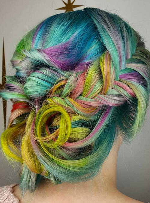 Pastel and Neon Hair Colors in Balayage and Ombre: Colorful Neon Hair