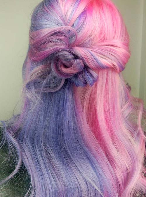 Pastel and Neon Hair Colors in Balayage and Ombre: Cotton Candy Pastel Hair