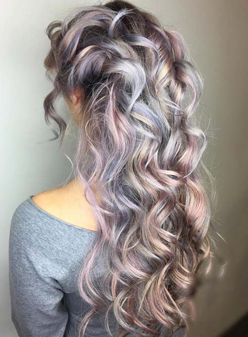 Pastel and Neon Hair Colors in Balayage and Ombre: Silver Lavender Hair
