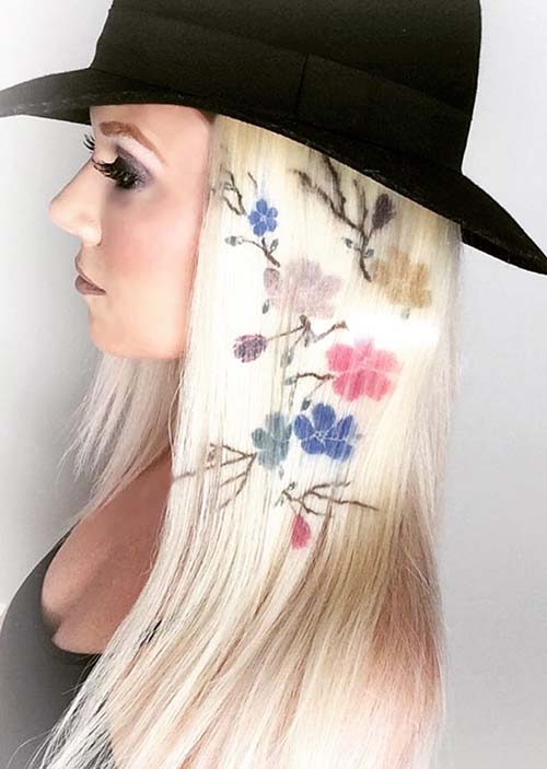 Image result for Floral Branches hair stencil