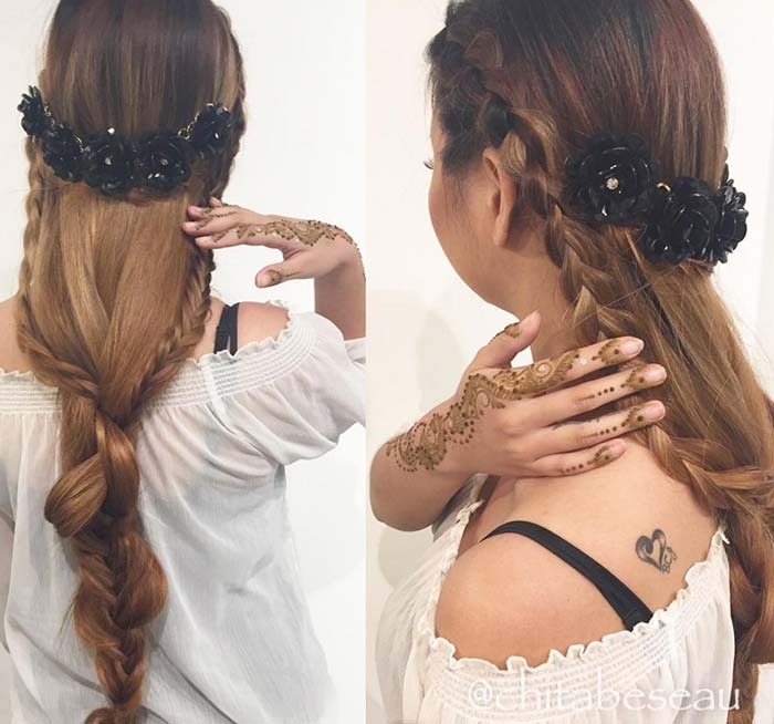 100 Trendy Long Hairstyles for Women: Partial Braid