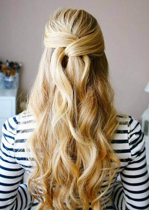100 Trendy Long Hairstyles for Women: Wrapped Half Updo