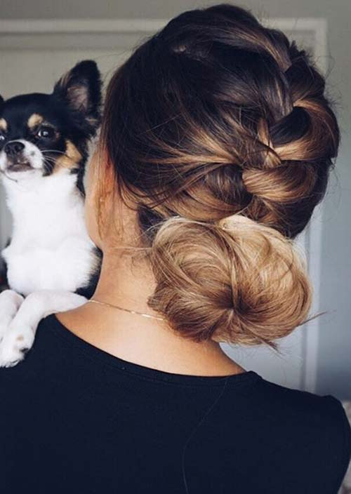 100 Trendy Long Hairstyles for Women: Braided Low Bun