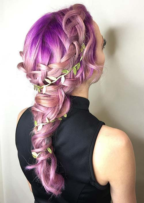 100 Trendy Long Hairstyles for Women: Purple Rapunzel Braid