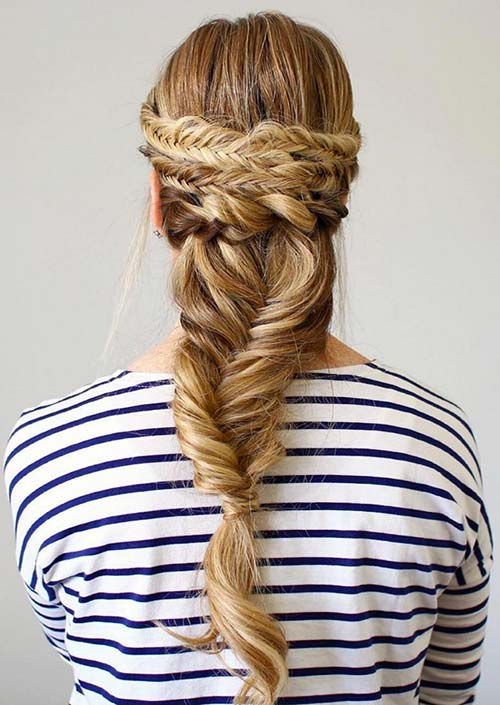 100 Trendy Long Hairstyles for Women: Wide Fishtail Braid