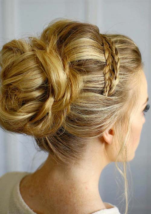 100 Trendy Long Hairstyles for Women: Bun With Braided Headband