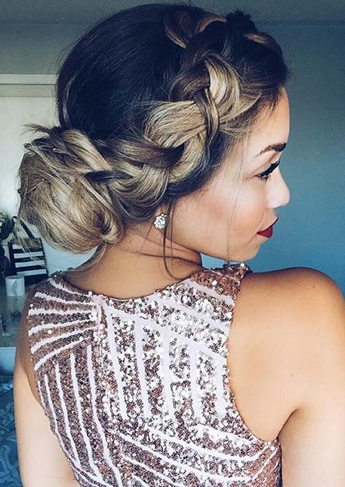 100 Trendy Long Hairstyles for Women: Woven Braid + Bun