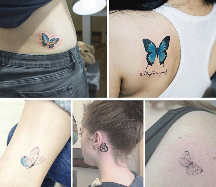 Cute Small Tattoos For Girls With Their Meanings: Tiny Butterfly Tattoos