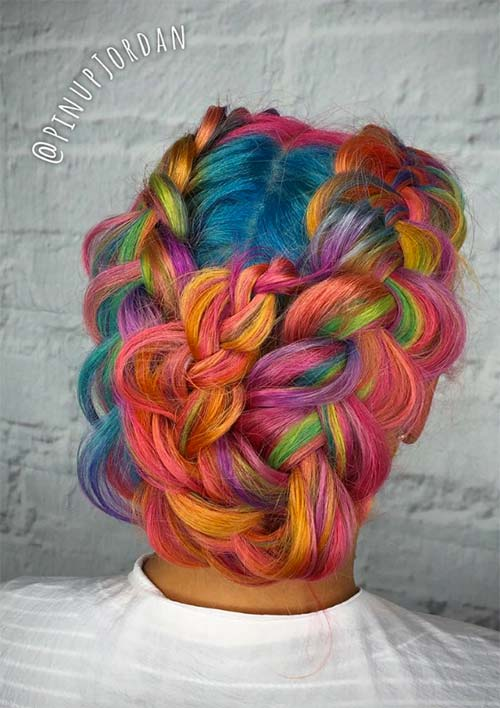 100 Ridiculously Awesome Braided Hairstyles: Rainbow French Braided Updo