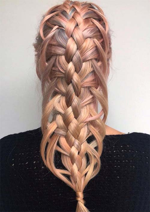 100 Ridiculously Awesome Braided Hairstyles: 5-Strand Feather Braids
