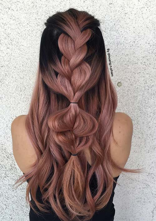 100 Ridiculously Awesome Braided Hairstyles: Half-Up Simple Braids