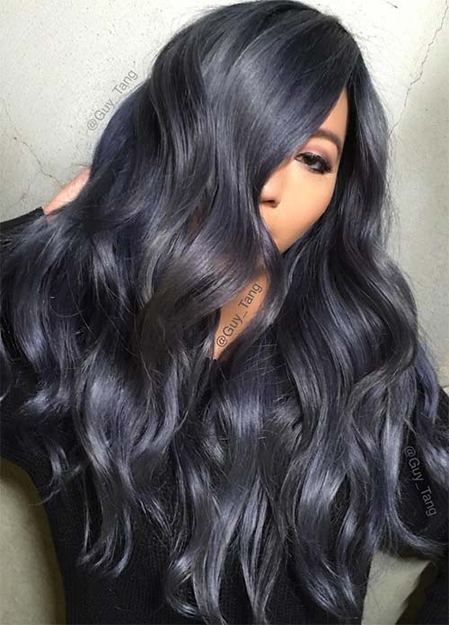 Dark Hair Colors: Deep Denim Blue Hair Colors