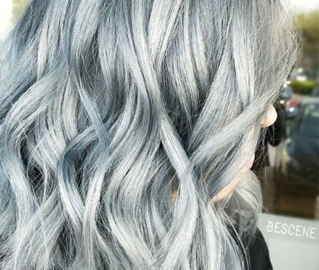 Blue Denim Hair Colors Stonewashed Silvery Blue Medium Bob