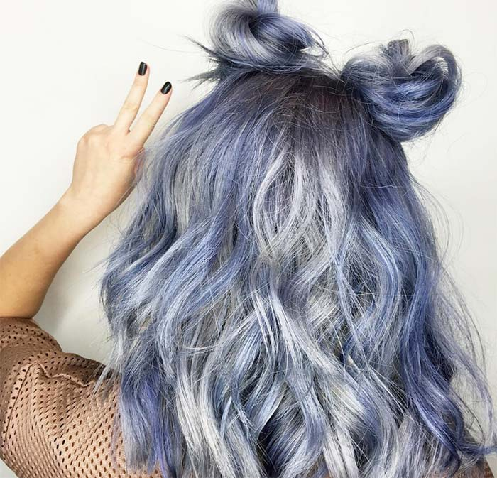 Blue Denim Hair Colors: Bunny Blue Jean Waves