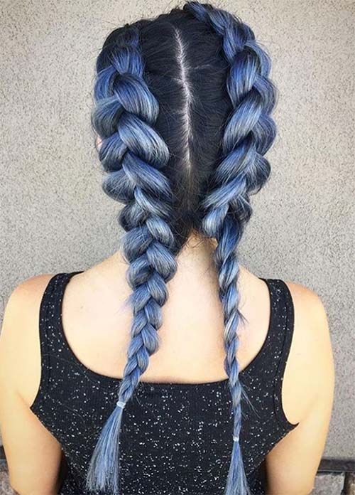 Blue Denim Hair Colors: Double Denim French Braid