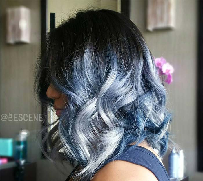 Blue Denim Hair Colors: Asymmetrical Acid Washed Ombre Bob