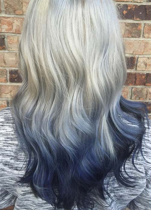 Blue Denim Hair Colors: Light to Dark Silver Ombre
