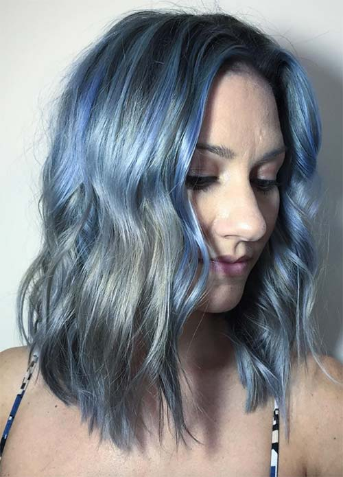 Blue Denim Hair Colors: Silver and Blue Balayage Bob