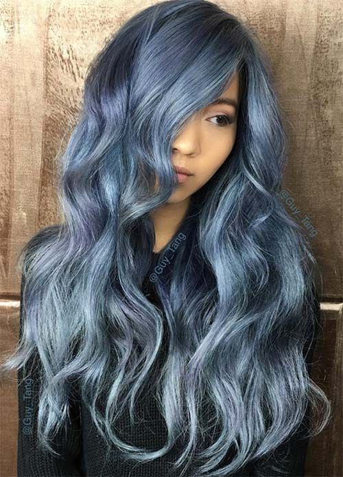 Blue Denim Hair Colors: Frost Tip Ombre