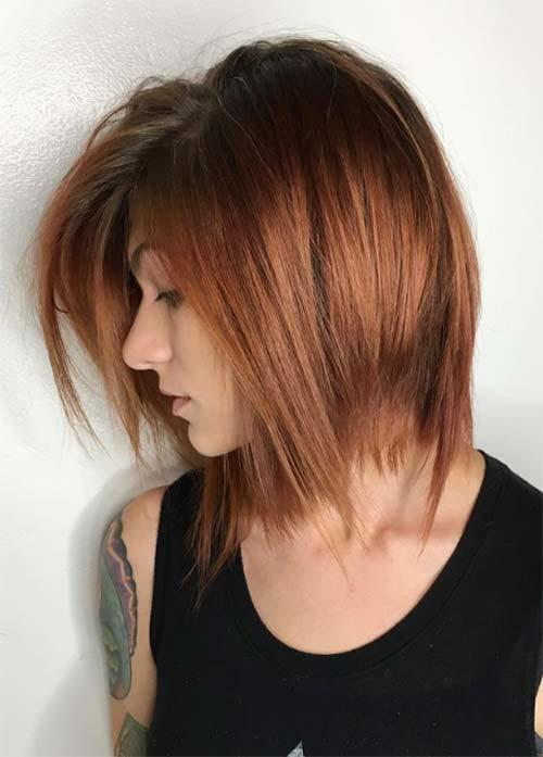 Layered Bob Haircut With Bangs
