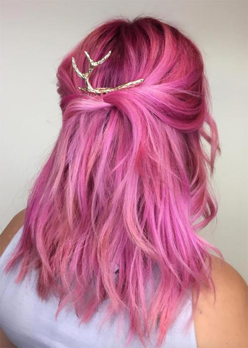 Pretty Holiday Hairstyles Ideas: Pink Half-Up Hair