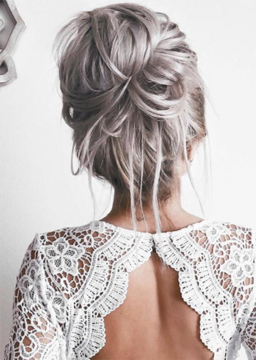 Pretty Holiday Hairstyles Ideas: Textured Loose Bun
