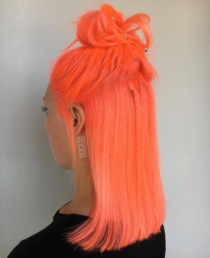 Neon Peach Hair Is The New Instagram Trend Half Updo Neon Peach Hair