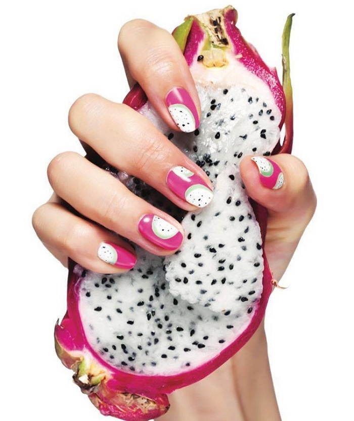 The Fruit-Themed Manicure is the Ultimate Summer Nail Trend passionfruit nails