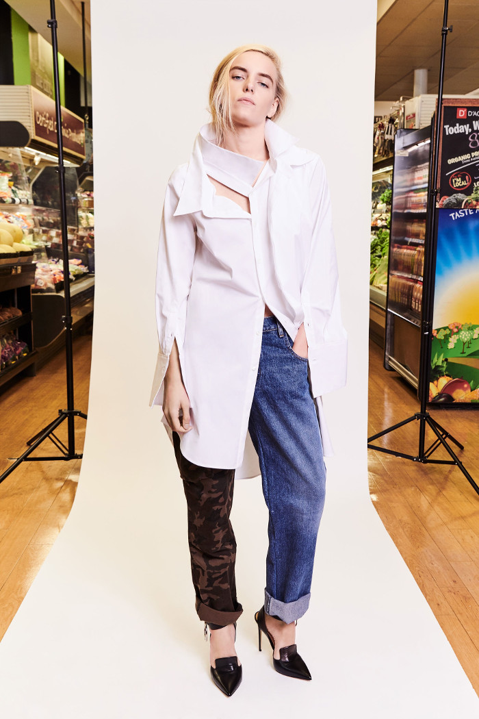 Monse Pre Fall 2018 Collection mismatched jeans and long shirt