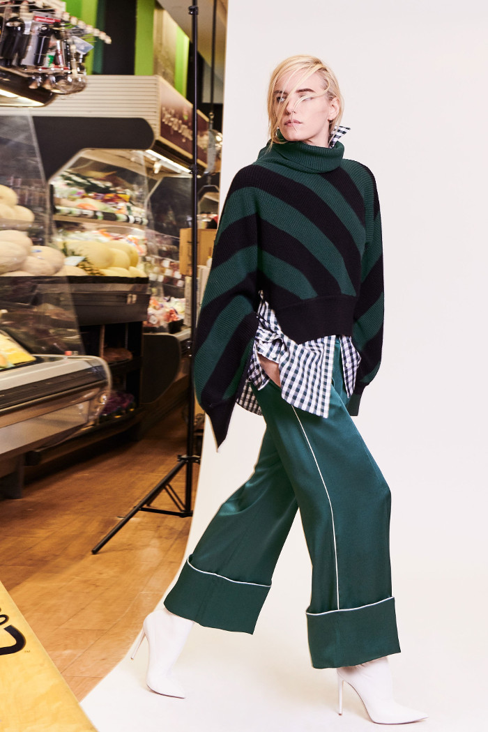 Monse Pre Fall 2018 Collection flared satin trousers, sweater and patterned shirt