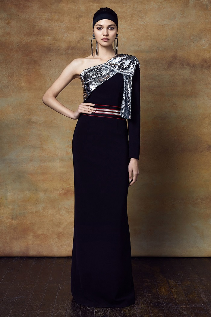 Sachin & Babi Pre-Fall 2018 Collection black gown sequined details