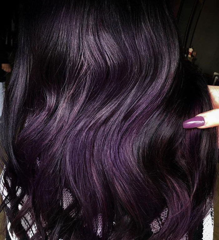 Blackberry Hair is the Unexpected Spring Hair Color Trend purple hair balayage