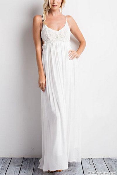 Backless Open Back Crochet Maxi Full Length Wedding Dress