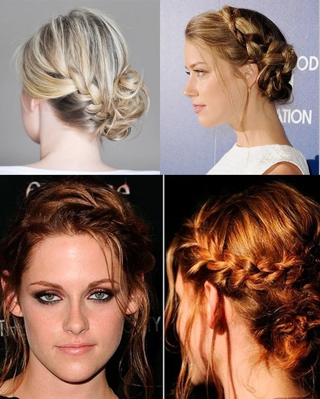 French side braid bun Kristen Stewart