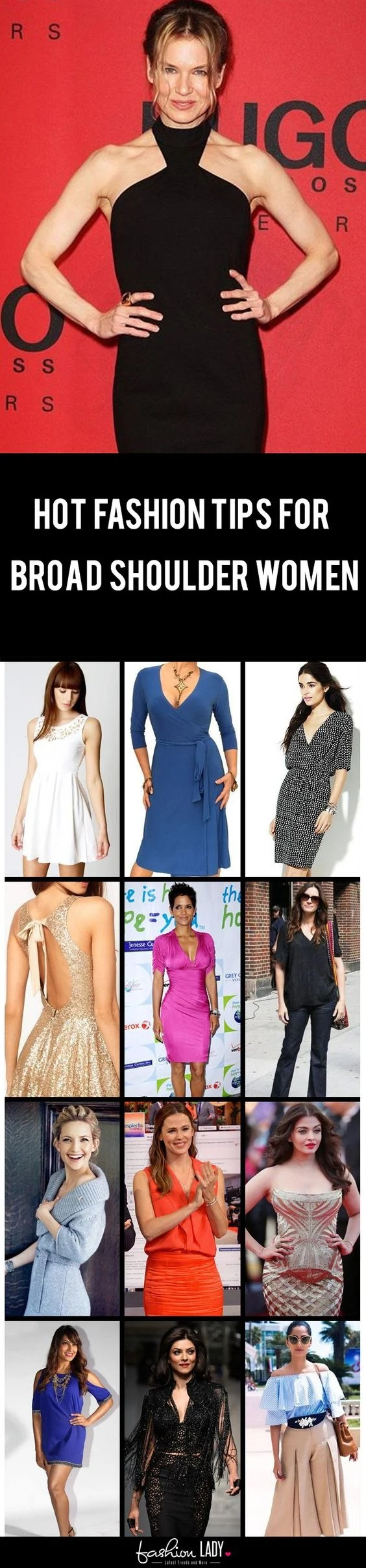 22 fashion tips for broad shoulder women - how to reduce