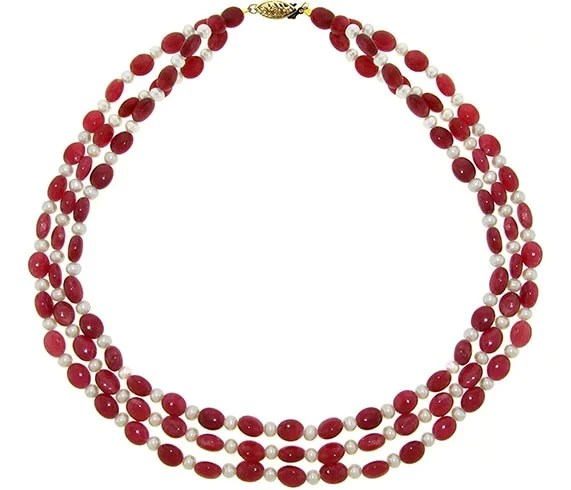 Ruby And White Freshwater Cultured Pearl Necklace