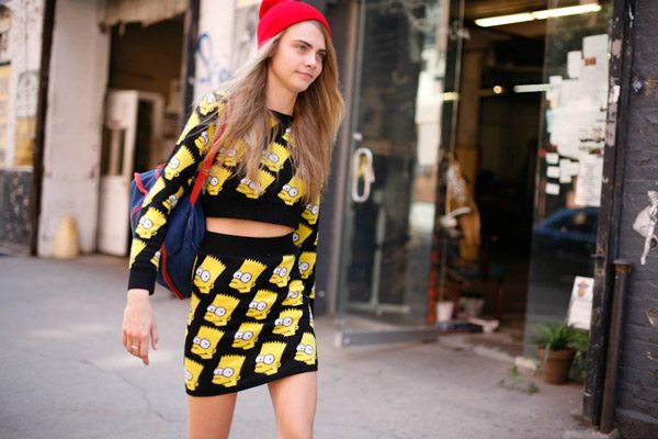 cara delevingne, fashion, street style, grunge, style, inspiration, outfit, bart simpson outfit, bart simpson, beanie hat