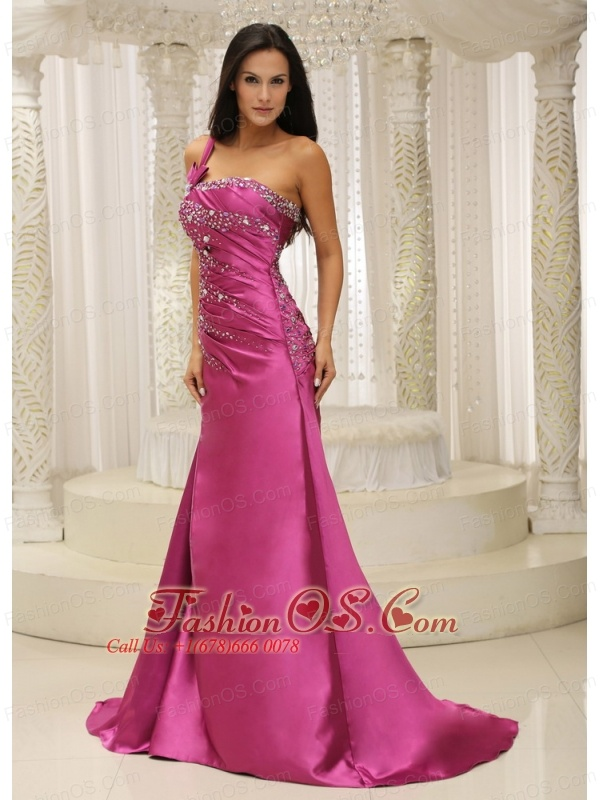 One Shoulder Beaded Decorate Bodice Satin For Prom Dress ...