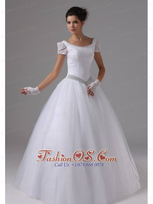 Scoop For 2013 Wedding Dress Short Sleeves Ball Gown Lace ...