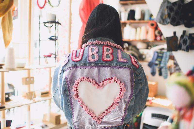 Fashion blogger Susie Bubble wearing a jacket customised by Katie Jones. Photo by Rachel Manns