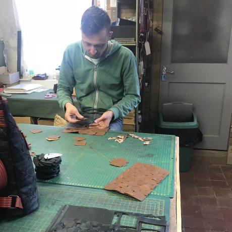 demonstrating Elvis _ Kresse upcylcing leather technique