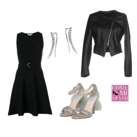 giacca in pelle nera corta vestito e sandali gioierllo outfit sabato sera