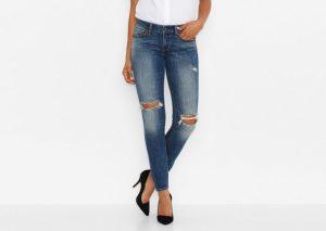 jeans stretti per donna a triangolo invertito