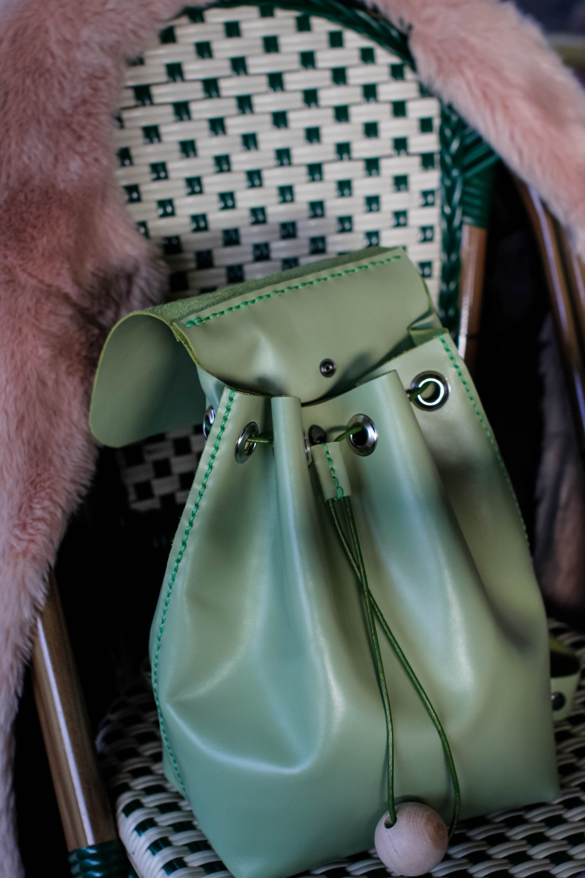 Young Designers / Bucket Backpack in Granny Smith Color