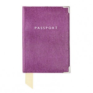 Designer passport covers- Aspinal Violet Lizard Print