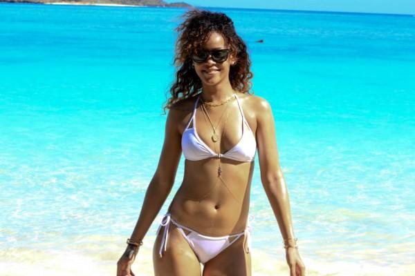 Rihanna on Vacation in Hawaii in a white bikini