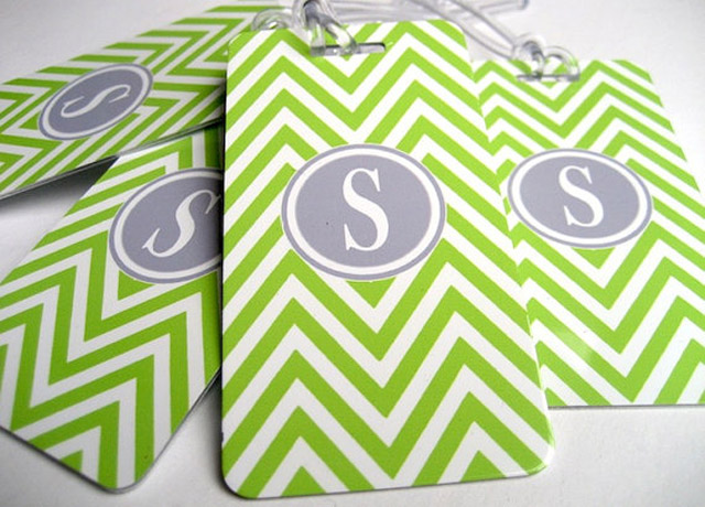 Chevron Luggage Tags Lime Green